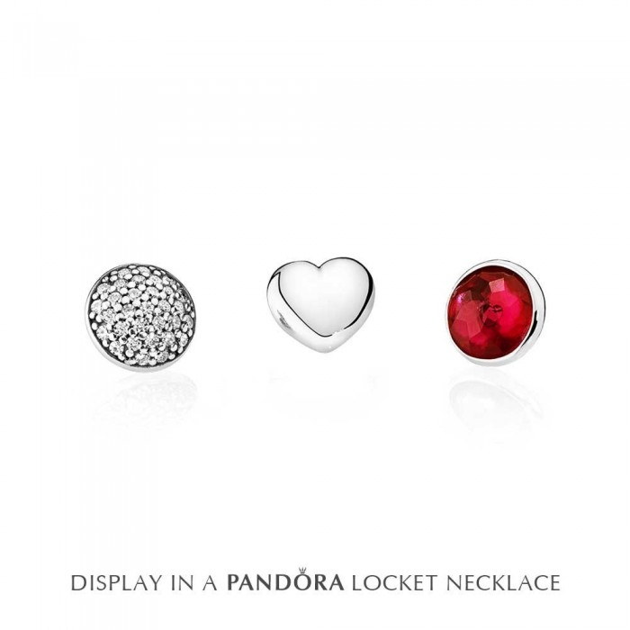 Pandora Charm Petite Memories July Synthetic Ruby Birthstone Locket Jewelry