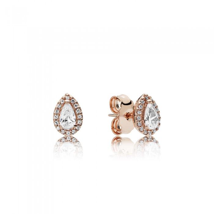 Pandora Earring Radiant Teardrops Rose Clear CZ Jewelry