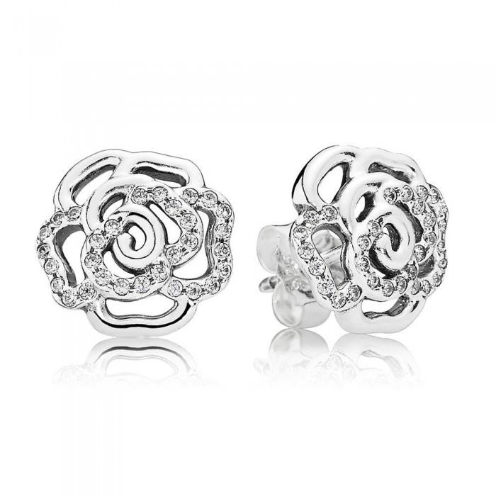 Pandora Earring Rose Floral Stud Cubic Zirconia Jewelry