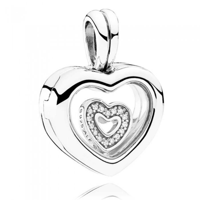 Pandora Necklace Petite Memories Floating Heart Love Locket CZ Jewelry