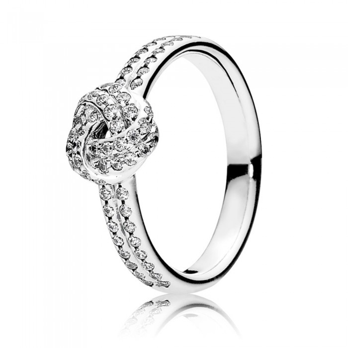 Pandora Ring Love Knot Pave CZ Sterling Silver Jewelry