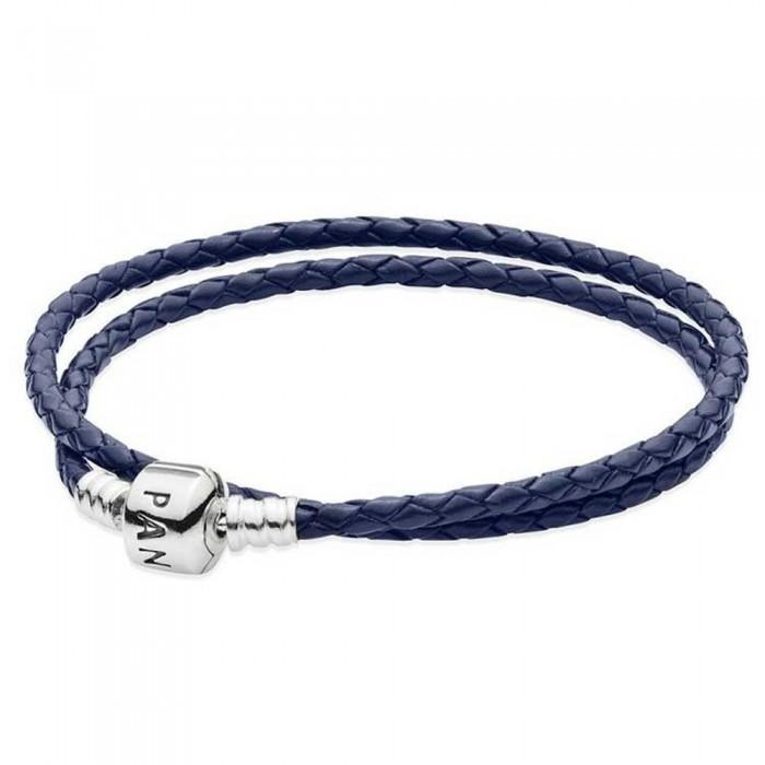 Pandora Bracelet And Dark Blue Double Leather Jewelry