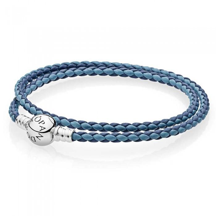 Pandora Bracelet Blue Mix Double Woven Leather Jewelry