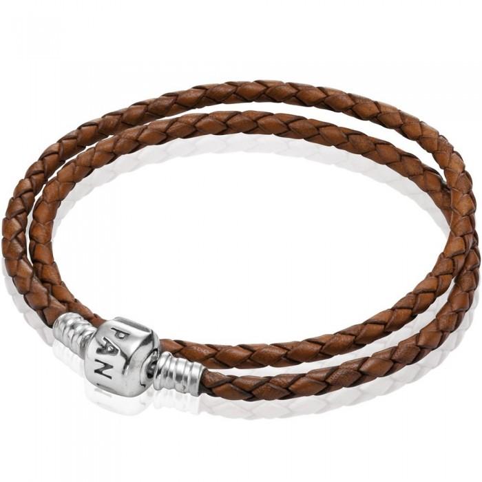 Pandora Bracelet Brown Double Braided Leather Jewelry