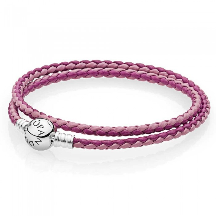 Pandora Bracelet Pink Mix Double Woven Leather Jewelry