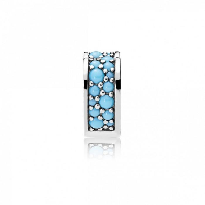 Pandora Charm Arcs Love Clip Cyan Blue Crystal Jewelry