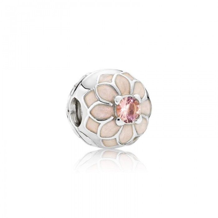 Pandora Charm Blooming Dahlia Clip Cream Enamel Blush Pink Crystal Jewelry