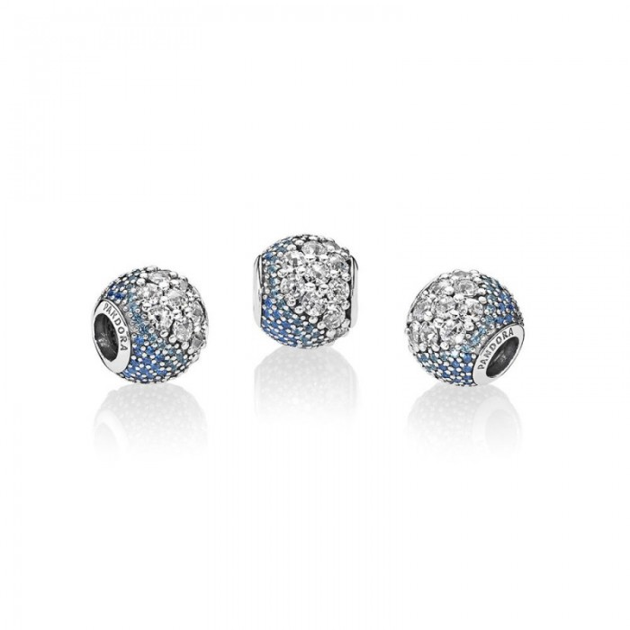 Pandora Charm Blue Enchanted Pave Blue Clear CZ Jewelry For Cheap