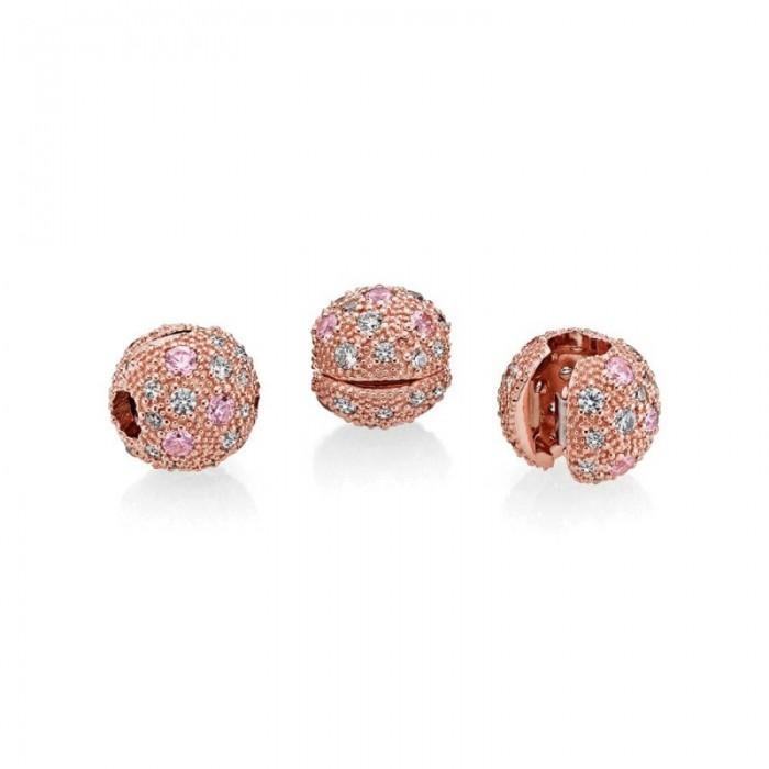 Pandora Charm Cosmic Stars Clip RosePink Clear CZ Jewelry