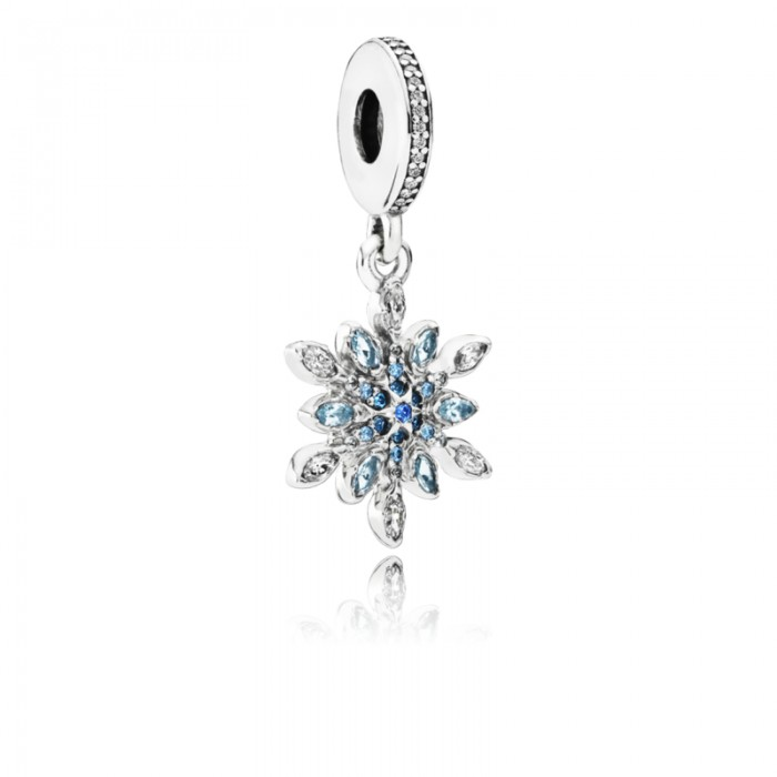 Pandora Charm Crystalized Snowflake Dangle Blue Crystals Clear CZ Jewelry