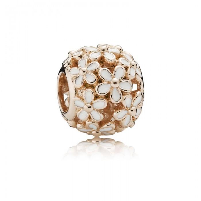 Pandora Charm Darling Daisy Meadow Rose White Enamel Jewelry