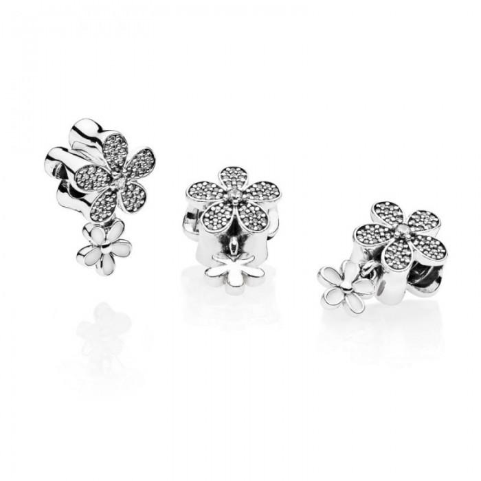 Pandora Charm Dazzling Daisy Duo White Enamel Clear CZ Jewelry