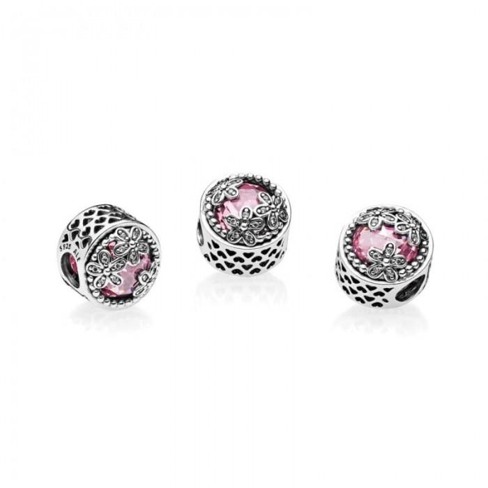 Pandora Charm Dazzling Daisy Meadow Pink Clear CZ Jewelry