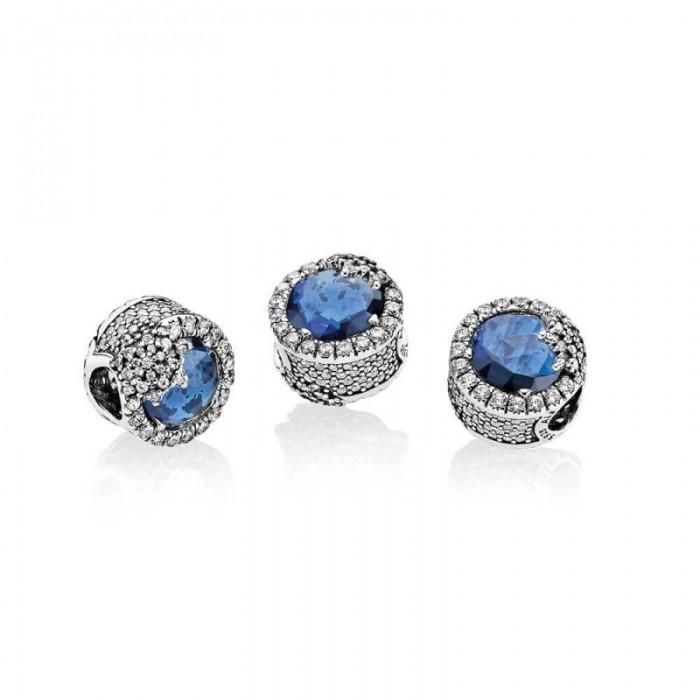 Pandora Charm Dazzling Snowflake Twilight Blue Crystals Clear CZ Jewelry