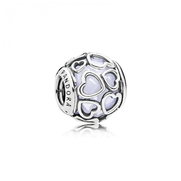 Pandora Charm Encased in Love Opalescent White Crystal Jewelry