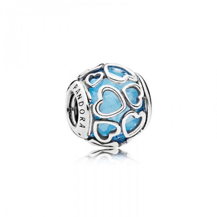 Pandora Charm Encased in Love Sky Blue Crystal Jewelry