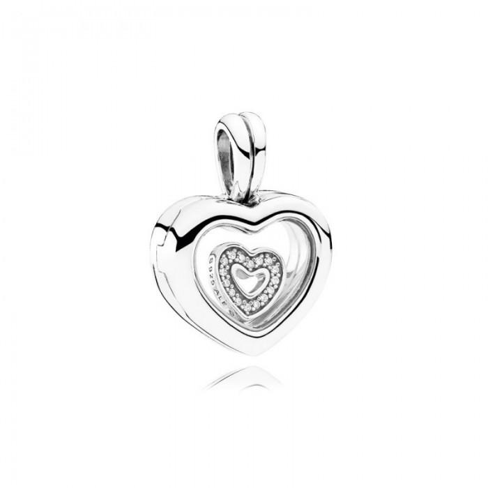 Pandora Charm Floating Heart Locket Sapphire Crystal Glass Clear CZ Jewelry