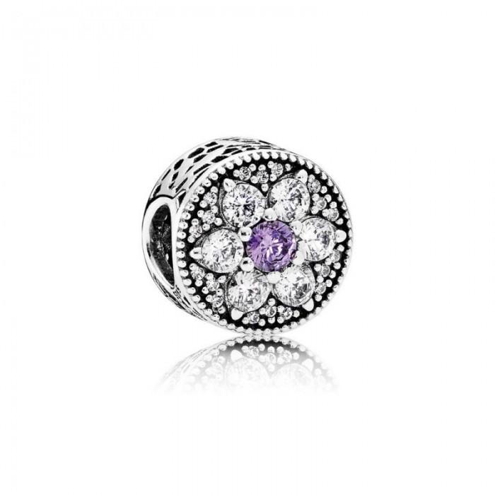 Pandora Charm Forget Me Not Purple Clear CZ Jewelry