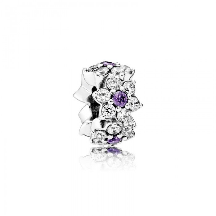 Pandora Charm Forget Me Not Spacer Purple Clear CZ Jewelry