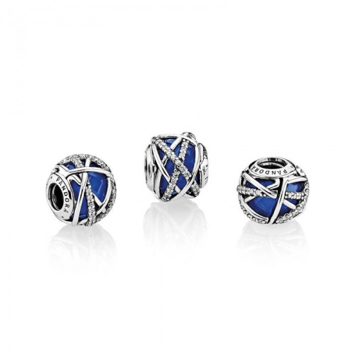 Pandora Charm Galaxy Royal Blue Crystal Clear CZ Jewelry