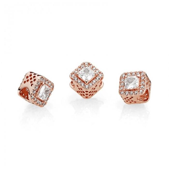 Pandora Charm Geometric Radiance Rose Clear CZ Jewelry