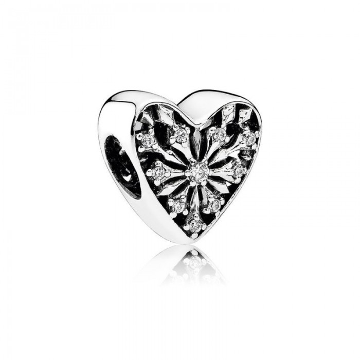 Pandora Charm Heart Winter Clear CZ Jewelry