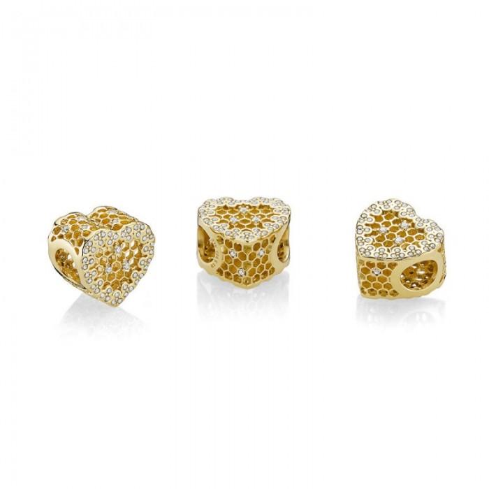 Pandora Charm Honeycomb Lace Shine Jewelry