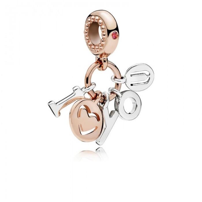 Pandora Charm I Love You Dangle Rose Red CZ Jewelry