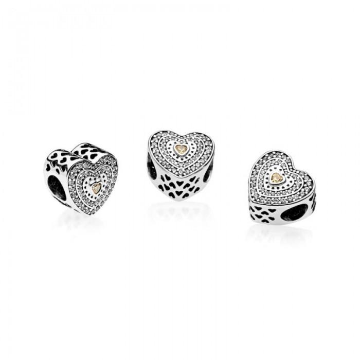 Pandora Charm Lavish Heart Fancy Colored Clear CZ Jewelry