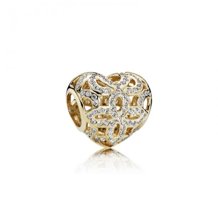 Pandora Charm Love Appreciation Clear CZ 14K Gold Jewelry