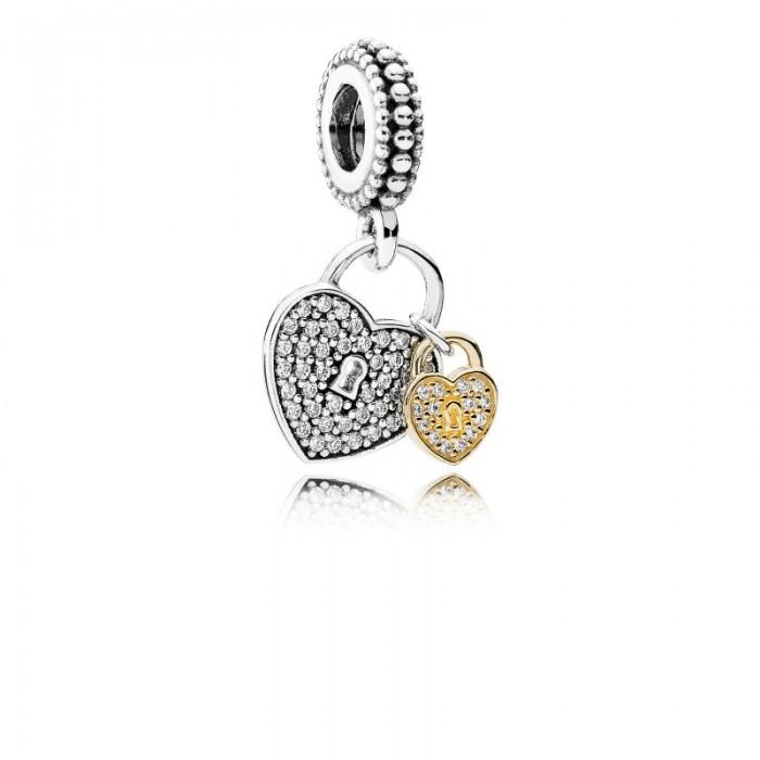 Pandora Charm Love Locks Dangle Clear CZ Jewelry