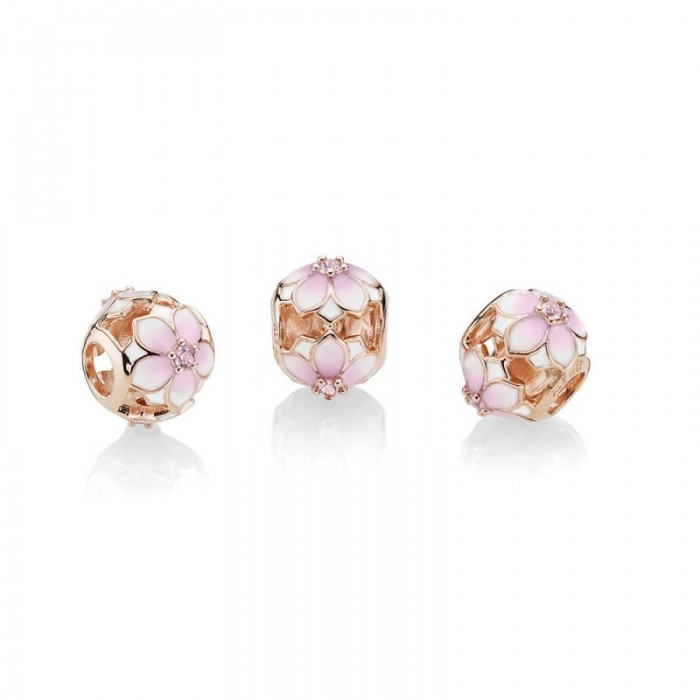 Pandora Charm Magnolia Bloom Rose Blush Pink Crystal and Mixed Enamel Jewelry