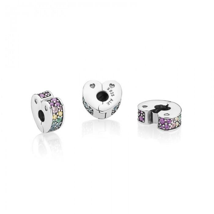 Pandora Charm Multi Colored Arc Love Clip Multi Colored CZ Crystals Jewelry Enjoy Buy