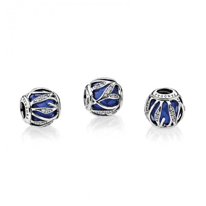Pandora Charm Nature's Radiance Royal Blue Crystal Clear CZ Jewelry