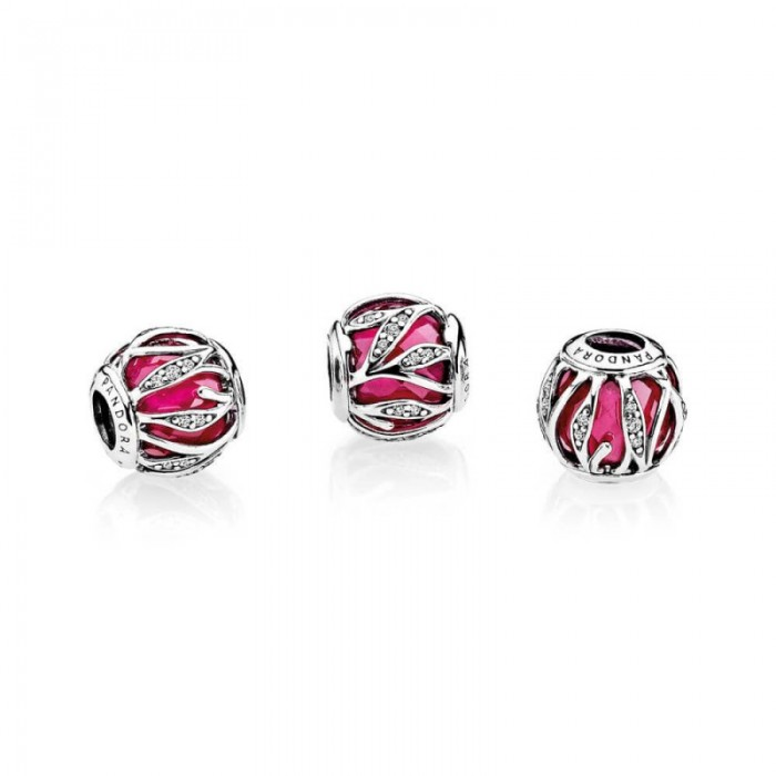 Pandora Charm Nature's Radiance Synthetic Ruby Clear CZ Jewelry