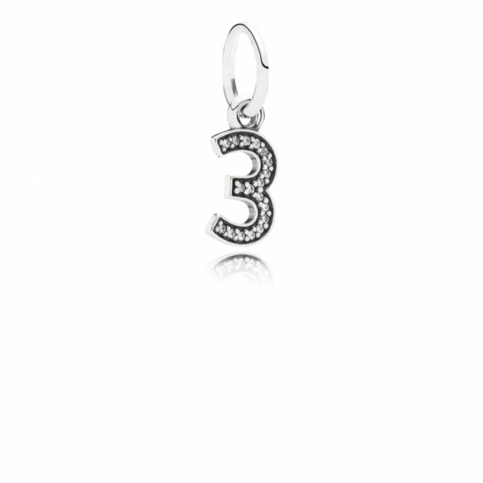 Pandora Charm Number 3 Dangle Clear CZ Jewelry