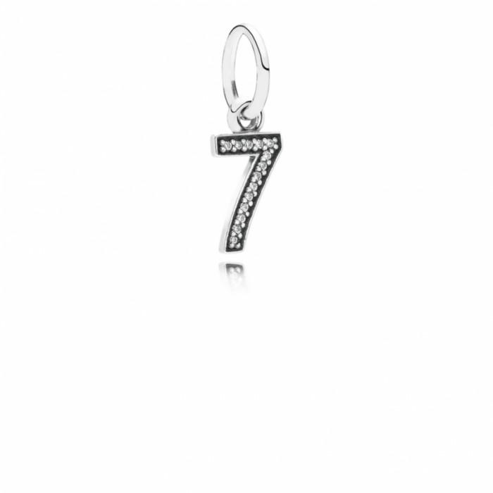 Pandora Charm Number 7 Dangle Clear CZ Jewelry