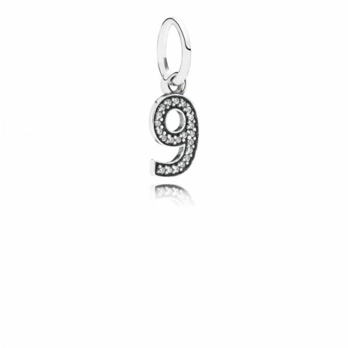 Pandora Charm Number 9 Dangle Clear CZ Jewelry