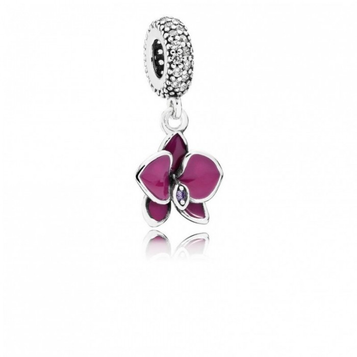 Pandora Charm Orchid Dangle CZ Radiant Orchid Colored Enamel Jewelry