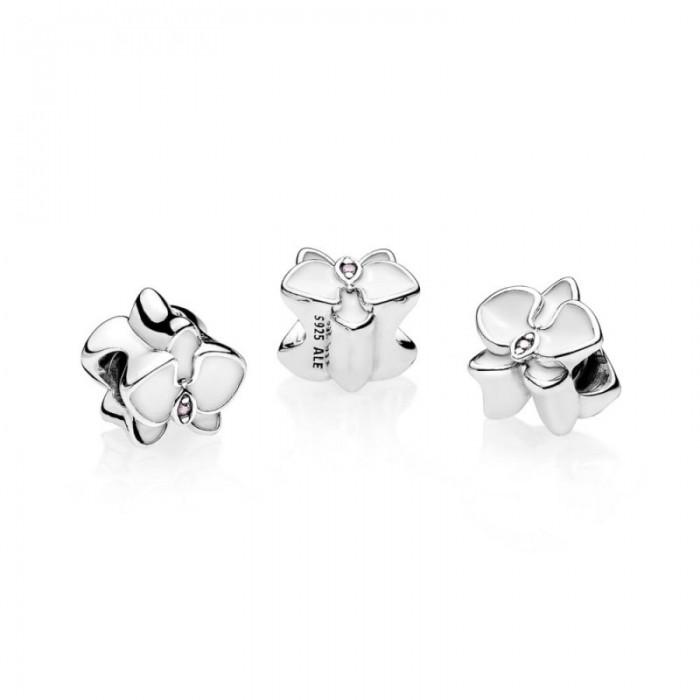 Pandora Charm Orchid White Enamel Orchid CZ Jewelry