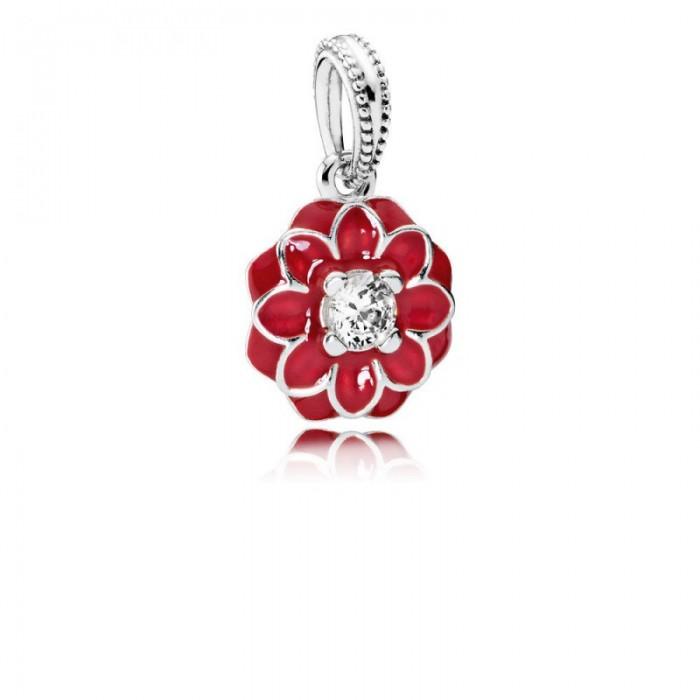 Pandora Charm Oriental Bloom Dangle Red Enamel Clear CZ Jewelry