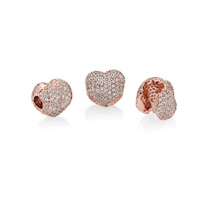 Pandora Charm Pave Open My Heart Clip Rose Clear CZ Jewelry