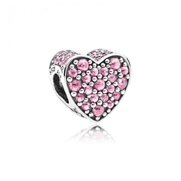 Pandora Charm Pink Dazzling Heart Pink CZ Jewelry