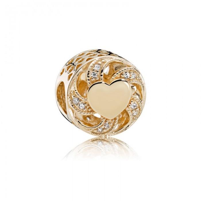 Pandora Charm Ribbon Heart 14K Gold Clear CZ Jewelry