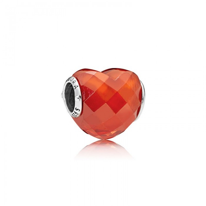 Pandora Charm Shape Love Orange Cubic Zirconia Jewelry