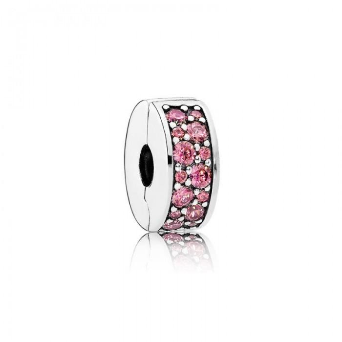 Pandora Charm Shining Elegance Clip Honeysuckle Pink CZ Jewelry