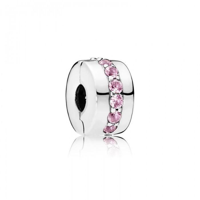 Pandora Charm Shining Path Clip Pink CZ Jewelry