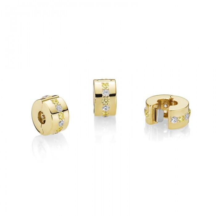 Pandora Charm Shining Path Clip Shine Yellow Clear CZ Jewelry