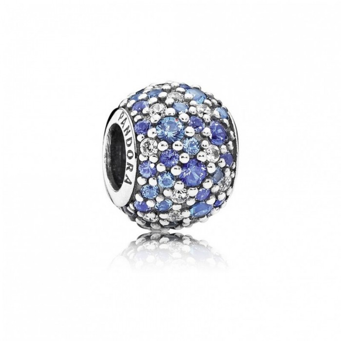 Pandora Charm Sky Mosaic Pave Mixed Blue Crystals Clear CZ Jewelry
