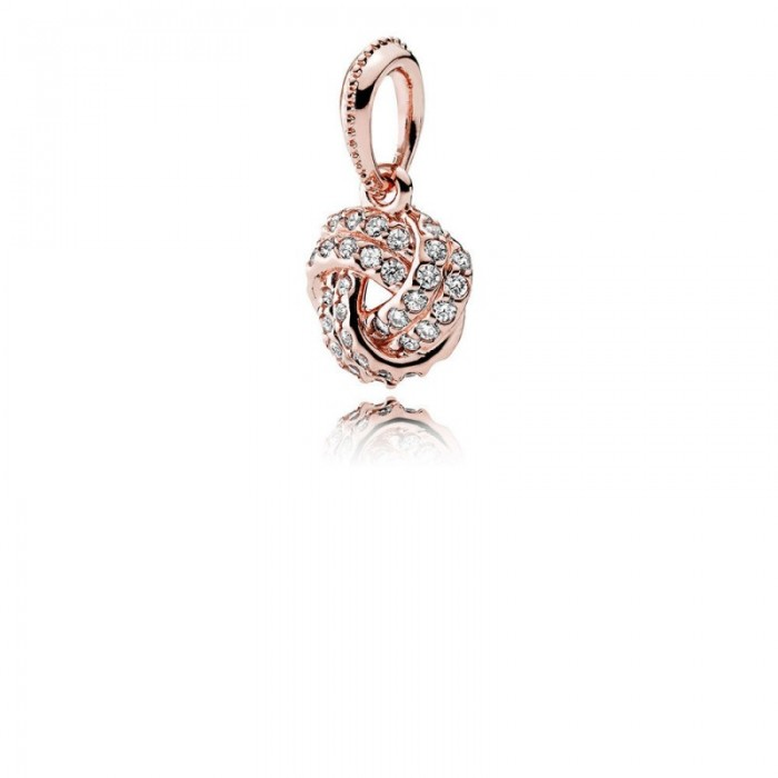 Pandora Charm Sparkling Love Knot Pendant Rose Clear CZ Jewelry